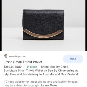 See by Chloe trifold wallet black and gold leather